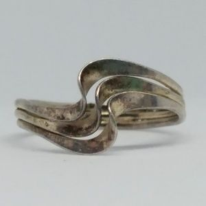 Sterling Silver Triple Wave Band Pinky Ring 925